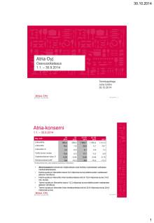Atria Oyj:n osavuosikatsaus 1.1.-30.9.2014