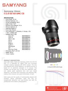 Samyang 16mm - Tekniset tiedot