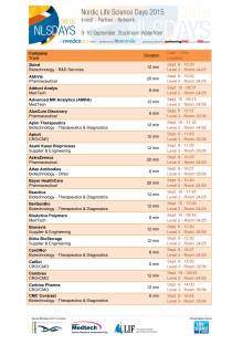 Lista på de 75 företag som presenterar sina idéer på NLSDays 2015