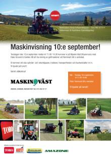 Maskinvisning 10 september hos Maskin Väst.