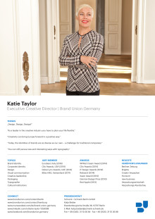 Sedcard Katie Taylor, Executive Creative Director, english version