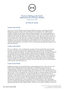 The Ice is Melting in the North: Statement to the UN Peace Summit, August 28-31, 2000, by Oren R. Lyons