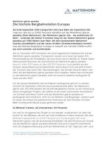 Pressemitteilung Kleinmatterhorn: Die höchste Bergbahnstation Europas