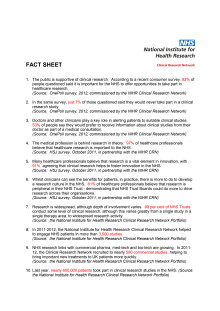 Clinical research in the NHS - factsheet