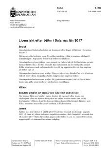 Beslut licensjakt på björn 2017