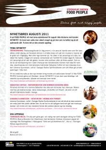 FOOD PEOPLE Nyhetsbrev Augusti 2011