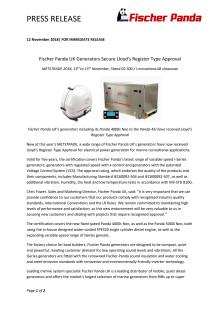 Fischer Panda UK Generators Secure Lloyd's Register Type Approval