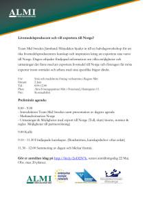 Inbjudan till workshop om export till norska marknaden