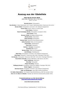 Auszug aus der Gästeliste beim Felix Burda Award 2016 am 17.4. in der BMW WELT in München