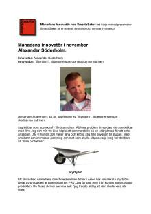 Månadens innovatör i november Alexander Söderholm.