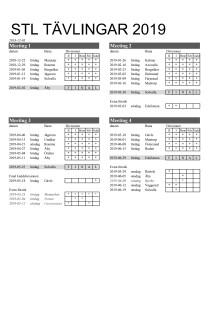 Tävlingsschema för STL 2019