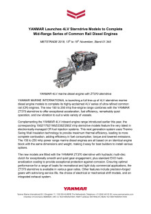 YANMAR Launches 4LV Sterndrive Models to Complete Mid-Range Series of Common Rail Diesel Engines