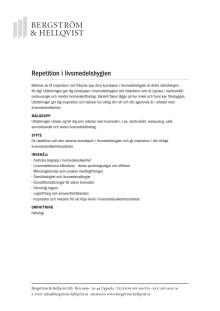 Repetition i livsmedelshygien