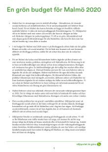 En grön budget för Malmö stad 2020 – sammanfattning
