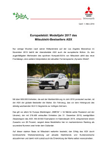 Europadebüt: Modelljahr 2017 des  Mitsubishi-Bestsellers ASX