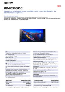 Datenblatt KD-65X9305C von Sony