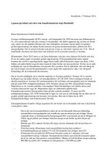 Öppet brev till statsminister Fredrik Reinfeldt om Sveriges position inför Parismötet