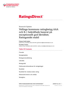 Standard & Poor´s Rating Services: Ratings Direct - Vellinge kommuns ratingbetyg