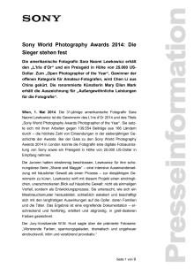"""Pressemitteilung """"Sony World Photography Awards 2014: Die Sieger stehen fest"""""""