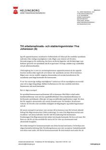 Brev till arbetsmarknads- och etableringsminister Ylva Johansson (S) från Anna Jähnke (M) kommunalråd och ordförande i arbetsmarknadsnämnden, Helsingborg