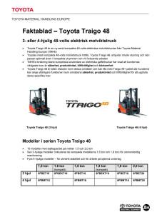Toyota Traigo 48 - faktablad