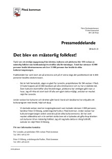 Pressmeddelande - SM-veckan i Piteå en publiksuccé
