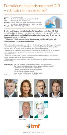Inbjudan Bostadspolitisk debatt 20131205