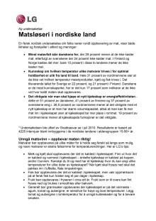 Matsløseri i nordiske land