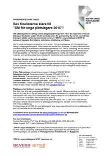 """PRESSMEDDELANDE 150223: Sex finalisterna klara till """"SM för unga plåtslagare 2015""""!"""