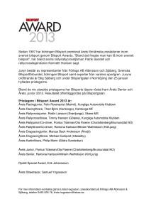 Samtliga pristagare i Bilsport Award 2013