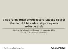 Henning Bang - Hva kjennetegner effektive ledergrupper