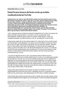 United Screens lanserer det første norske og nordiske musikknettverket på YouTube