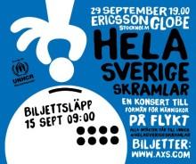Hela Sverige skramlar – Sveriges artistelit intar Ericsson Globe för unik konsert till förmån för människor på flykt