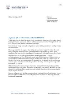 Angående flytt av Tullverkets huvudkontor till Malmö