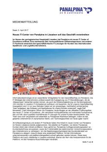 Neues IT-Center von Panalpina in Lissabon soll das Geschäft vorantreiben