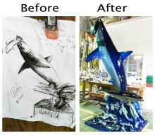 From concept to reality... custom Mako shark splash mount on display