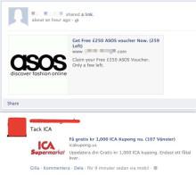 Falska kupongerbjudanden på Facebook