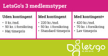 LetsGo indfører tre nye typer medlemskaber