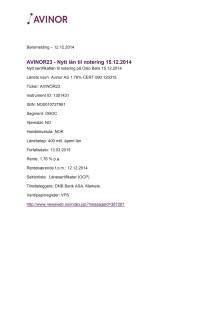 Avinor23 - Nytt lån til notering 15.12.2014