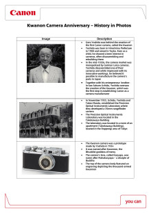 Canon Kwanon camera anniversary - History in photos factsheet