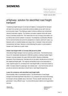 Background Paper on eHighway (på engelska)