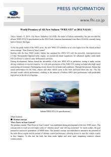 Världspremiär för nya Subaru WRX STI i Detroit
