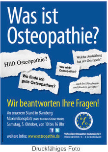 Informationsstand zum Thema Osteopathie in Bamberg