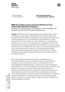 BMW Leipzig unterstützt das Kinderhospiz Bärenherz