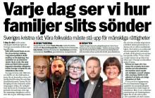 Kyrkoledare: Vi kräver att Sverige återinför rätten till familjeåterförening