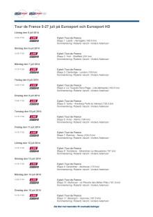 TV-tablå för Eurosports sändningar från Tour de France 2014
