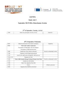 AGENDA  September 28-29 2016, Oskarshamn, Sweden