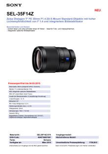 Datenblatt SEL-35F14Z von Sony