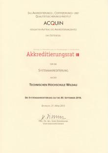 Technische Hochschule Wildau erhielt am 6. Juli 2015 Urkunde zur Systemakkreditierung