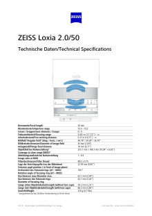 Zeiss Loxia 50mm datablad